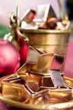 圣诞节的金黄金属切削形式担任主角曲奇饼,饼干, 库存照片