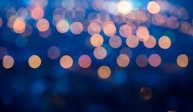 圣诞节的,全景蓝色抽象defocused轻的背景 免版税库存图片