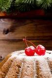圣诞节的经典水果蛋糕用樱桃 免版税库存照片