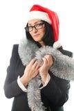 圣诞节盖帽的女商人 免版税库存图片