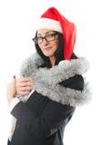 圣诞节盖帽的女商人 图库摄影