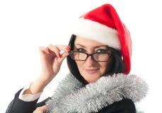 圣诞节盖帽的女商人 库存照片