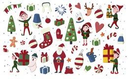 圣诞节矮子、圣诞老人项目、鹿,礼物等 在动画片样式的手拉的集合 皇族释放例证