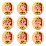 圣诞节矮子emoji面孔象 套另外情感charac 库存图片