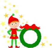 圣诞节矮子eps藏品花圈 库存照片
