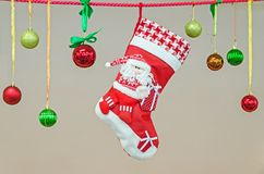 圣诞节礼品例证红色袜子向量白色 免版税图库摄影