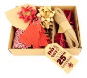 圣诞节礼品包装材料装饰集合 库存图片