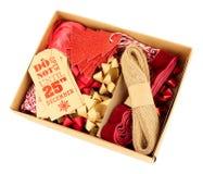 圣诞节礼品包装材料装饰集合 免版税库存图片