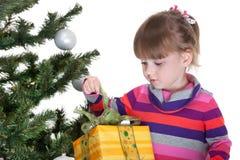 圣诞节礼品女孩相当少许空缺数目 免版税库存图片