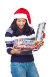 圣诞节礼品空缺数目惊奇的妇女 库存照片