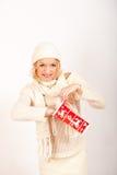 圣诞节礼品红色性感的冬天妇女年轻&# 免版税库存图片