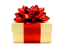 圣诞节礼品金子红色 免版税库存图片