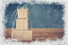 圣诞节礼品隔离白色 免版税库存照片