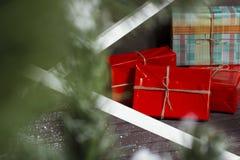 圣诞节礼品隔离白色 免版税库存图片