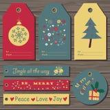 圣诞节礼品集合标签 免版税库存图片