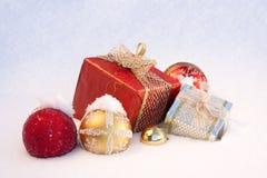 圣诞节礼品雪 库存图片