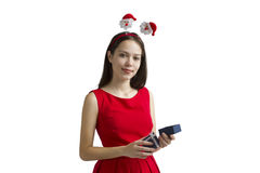 圣诞节礼品 不可思议的假日 女孩新年好礼物 免版税库存图片
