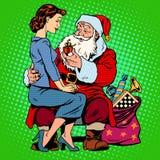 圣诞节礼品 圣诞老人和一个美丽的女孩 库存例证