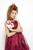 圣诞节礼服女孩红色 图库摄影