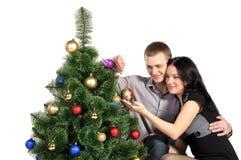 圣诞节礼服妇女的有家室的人结构树 库存图片