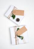 圣诞节礼物与标记的礼物盒汇集的模板设计的嘲笑 免版税库存照片