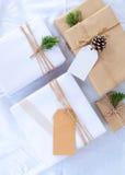 圣诞节礼物与标记的礼物盒汇集的模板设计的嘲笑 库存图片