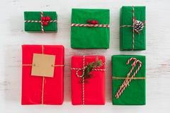 圣诞节礼物与标记的礼物盒汇集 免版税库存图片