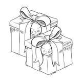 圣诞节礼物剪影 免版税库存照片