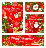 圣诞节礼物和圣诞老人新年假日横幅 库存例证