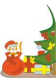圣诞节礼物和猫 免版税库存照片