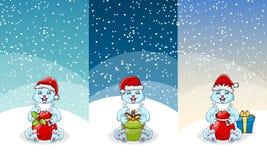圣诞节礼物和玩具横幅集合 有弓和丝带的当前箱子,与棒棒糖的圣诞老人袋子,长毛绒熊和兔子 皇族释放例证