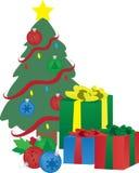 圣诞节礼物在结构树下 库存图片