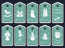 圣诞节礼物标记、stikers和标签 向量 库存照片