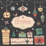 圣诞节礼物盒和树球 象查找的画笔活性炭被画的现有量例证以图例解释者做柔和的淡色彩对传统 皇族释放例证