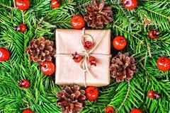 圣诞节礼物盒和装饰 库存图片
