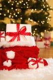 圣诞节礼物盒在晚上 库存图片