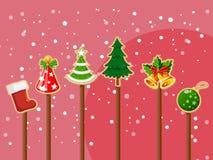 圣诞节礼物象传染媒介、新年快乐和装饰 免版税库存照片