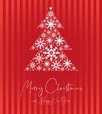 圣诞节祝愿卡片有红色背景和圣诞树 皇族释放例证