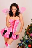 圣诞节神仙的蝴蝶女孩 库存图片