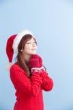 圣诞节秀丽女孩做愿望 免版税库存图片