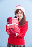 圣诞节秀丽妇女 免版税库存图片