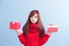 圣诞节秀丽妇女 免版税图库摄影