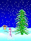 圣诞节秋天晚上雪 免版税库存照片