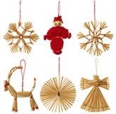 圣诞节秸杆垂悬的装饰, Xmas稻草玩具隔绝了ov 免版税库存图片