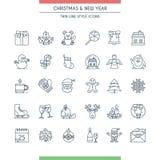 圣诞节稀薄的线被设置的象 免版税图库摄影