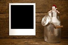 圣诞节空的照片框架土气卡片 库存照片