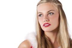 圣诞节穿戴的女孩纵向红色年轻人 免版税库存照片