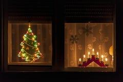 圣诞节窗口装饰 库存图片