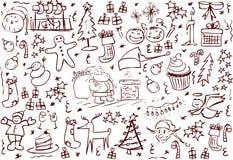 圣诞节符号乱画 向量例证