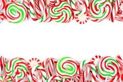圣诞节糖果在白色背景的双边界 库存照片